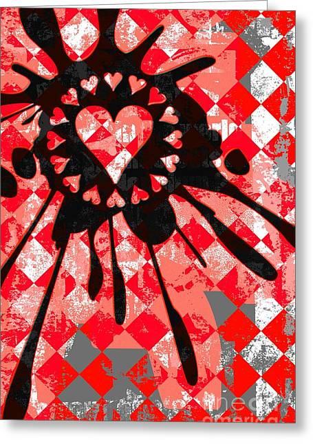 Roseanne Jones Greeting Cards - Love Heart Splatter Greeting Card by Roseanne Jones