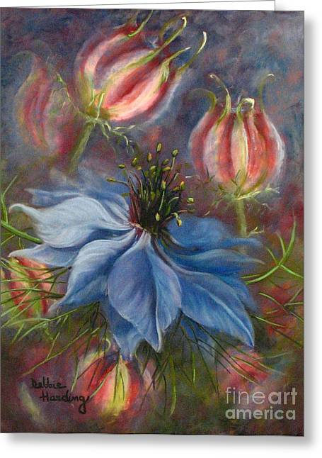 Periwinkle Pastels Greeting Cards - Love in a Mist Greeting Card by Debbie Harding