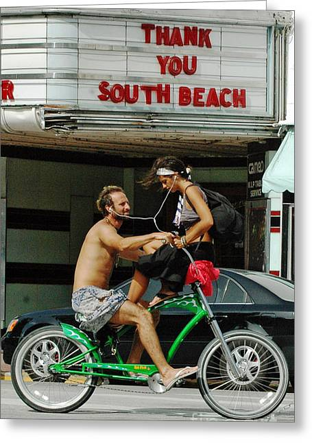 Anahi Decanio Greeting Cards - Love in South Beach Greeting Card by Anahi DeCanio