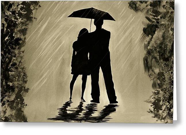 Love In The Rain D Greeting Card by Leslie Allen