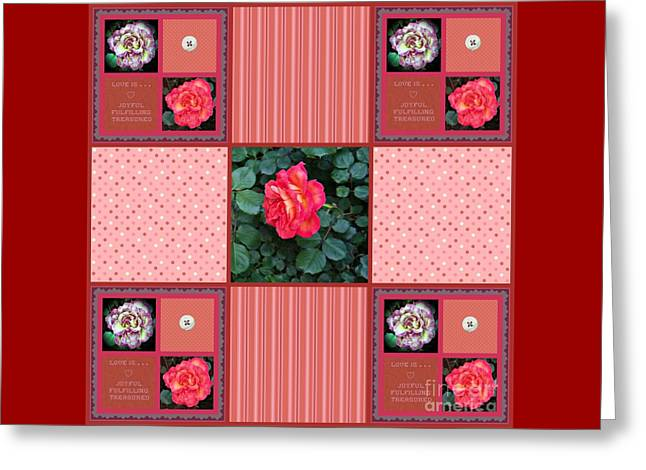 Abstract Digital Photographs Greeting Cards - Love Is 9 Square Quilt Design Greeting Card by Bobbee Rickard