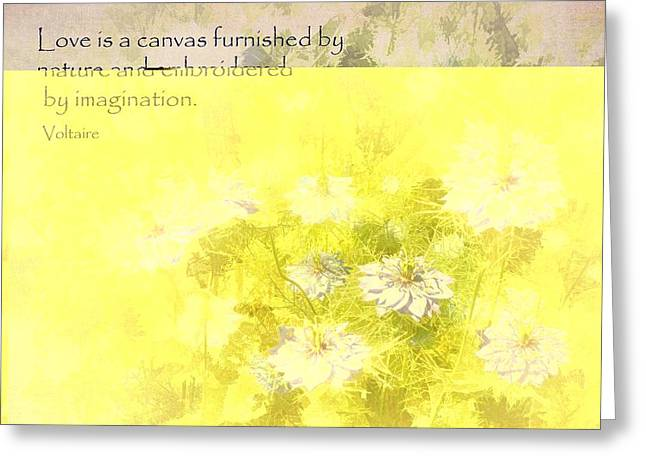 Damascena Greeting Cards - Love is a Canvas - Nigella damascena Greeting Card by Julia Springer