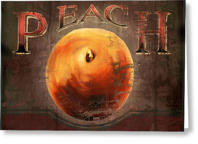 Labelled Mixed Media Greeting Cards - Love is a Peach Greeting Card by Joel Payne