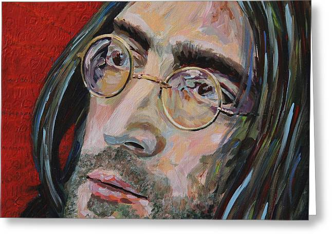 Bedroom Art Greeting Cards - Love is the Answer John Lennon Portrait 2 Greeting Card by Robert Yaeger