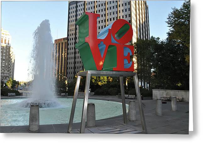 """love Park"" Greeting Cards - Love is the Word Greeting Card by Bill Cannon"