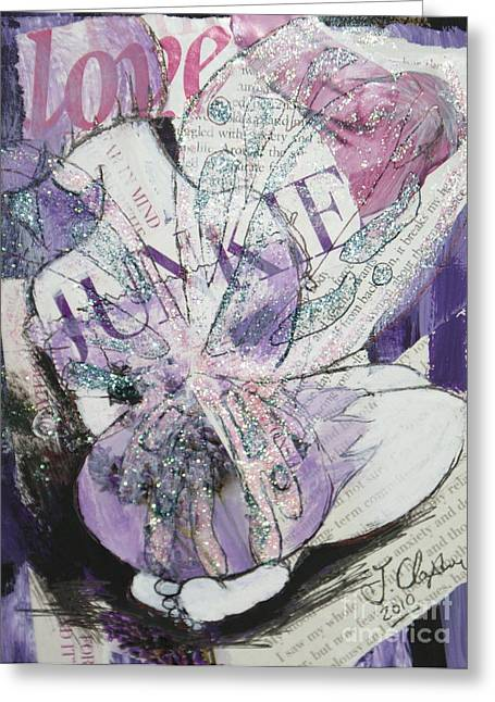 Knelt Mixed Media Greeting Cards - Love Junkie Greeting Card by Joanne Claxton