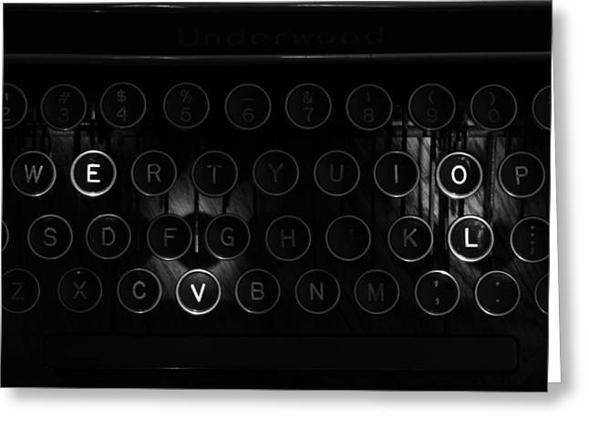 Love Letters Vintage Typewriter Keys Black And White Greeting Card by Terry DeLuco