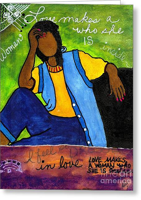 Survivor Art Greeting Cards - Love LIVES Here Greeting Card by Angela L Walker