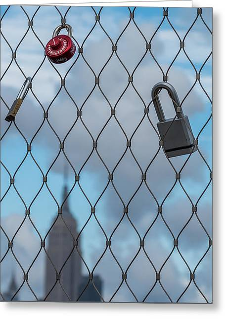 Creative People Greeting Cards - Love Locks Fence Empire State Building Greeting Card by Terry DeLuco