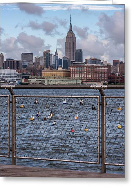 Creative People Greeting Cards - Love Locks Hoboken NYC Skyline Greeting Card by Terry DeLuco