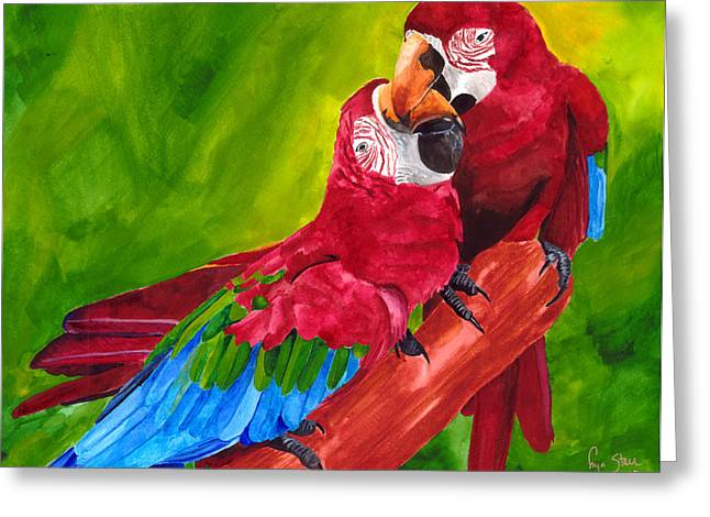 Dawnstarstudios Greeting Cards - Love Macaws Greeting Card by Dawnstarstudios