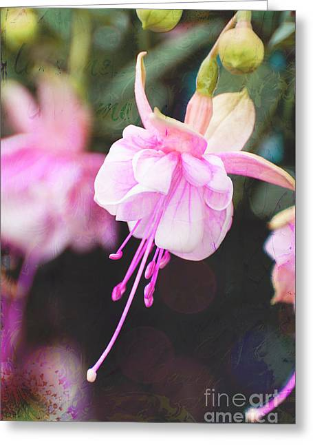 Award Mixed Media Greeting Cards - Pink Flower - Love Me Collage Greeting Card by ArtyZen Studios - ArtyZen Home