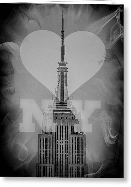 Featured Art Greeting Cards - Love New York BW Greeting Card by Az Jackson