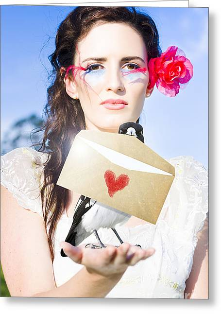 Eyelash Greeting Cards - Love Note Delivery From The Heart Greeting Card by Ryan Jorgensen