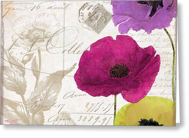 Poppies Home Decor Greeting Cards - Love Notes I Greeting Card by Mindy Sommers
