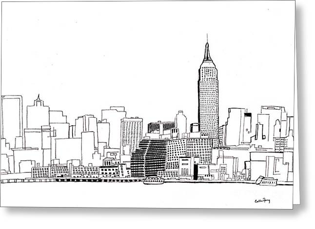 Love Nyc Monochrome Greeting Card by Callan Percy