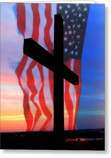 Servicewoman Greeting Cards - Love of God and Country Greeting Card by Erin Theisen