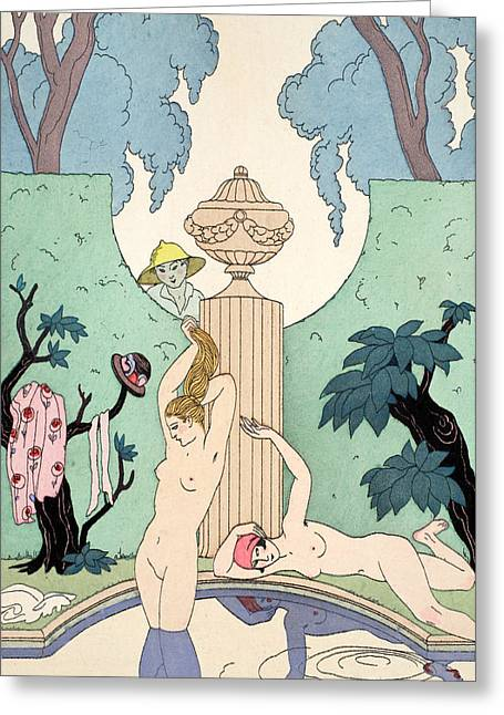 Bare Trees Drawings Greeting Cards - Love of Luxury Greeting Card by Georges Barbier