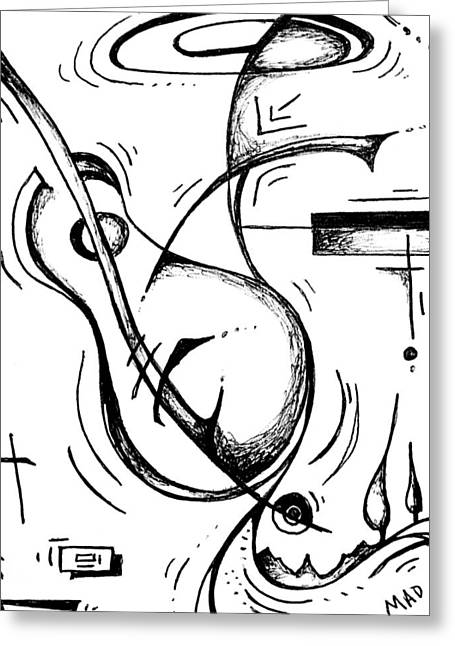 Dot Drawings Greeting Cards - Love of Music II MADART Sketch Greeting Card by Megan Duncanson