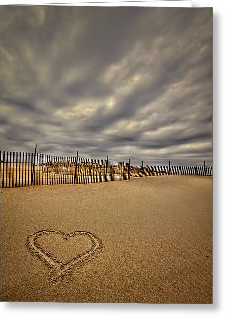York Beach Greeting Cards - Love on the Forecast Greeting Card by Evelina Kremsdorf