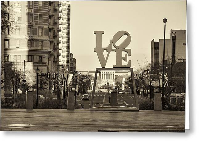 Love On The Parkway In Sepia Greeting Card by Bill Cannon