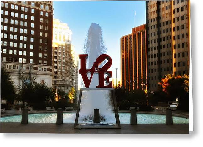 Center City Greeting Cards - Love Park - Love Conquers All Greeting Card by Bill Cannon