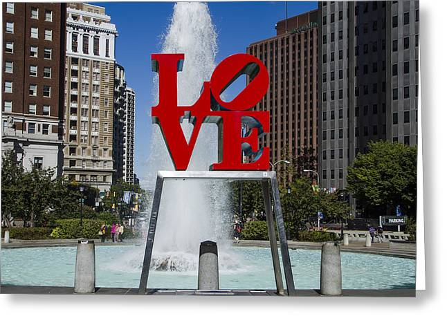 """love Park"" Greeting Cards - Love Park - Philadelphia Greeting Card by Bill Cannon"