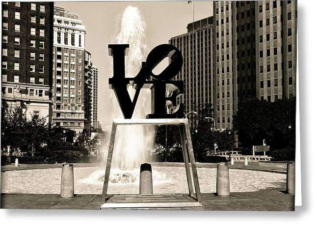 Love Park - Sepia Greeting Card by Bill Cannon