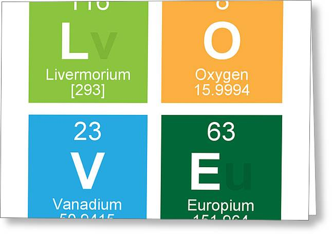 Pop Photographs Greeting Cards - Love Periodic Table Greeting Card by Edward Fielding