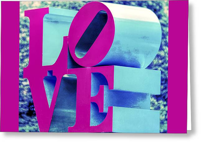 Soulmate Greeting Card featuring the photograph Love Philadelphia Neon Pink by Terry DeLuco