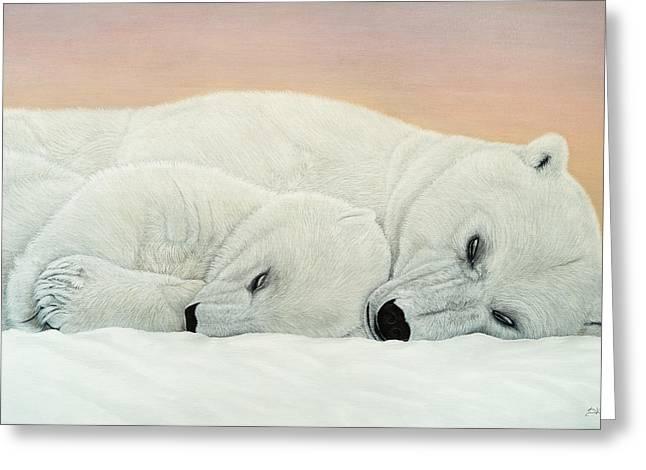 Caring Mother Greeting Cards - Love Polar Bears Greeting Card by Daria Krajewska