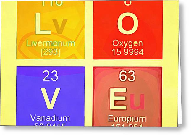 Pop Photographs Greeting Cards - LOVE Pop Art Periodic Table  Greeting Card by Edward Fielding