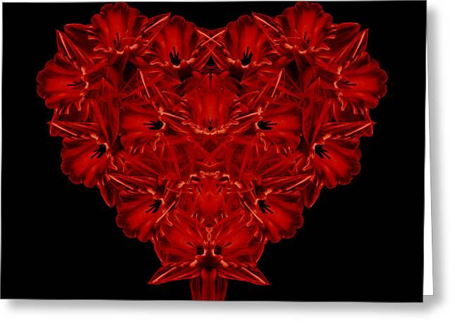 Floral Still Life Greeting Cards - LOVE Red Floral Heart Greeting Card by Edward Fielding