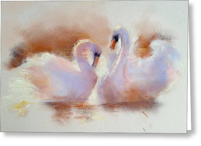 Swans... Greeting Cards - Love   Greeting Card by Roniyana Lane