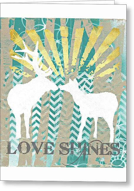 Chevon Greeting Cards - Love Shines Greeting Card by Sarah  Bloom Kinser