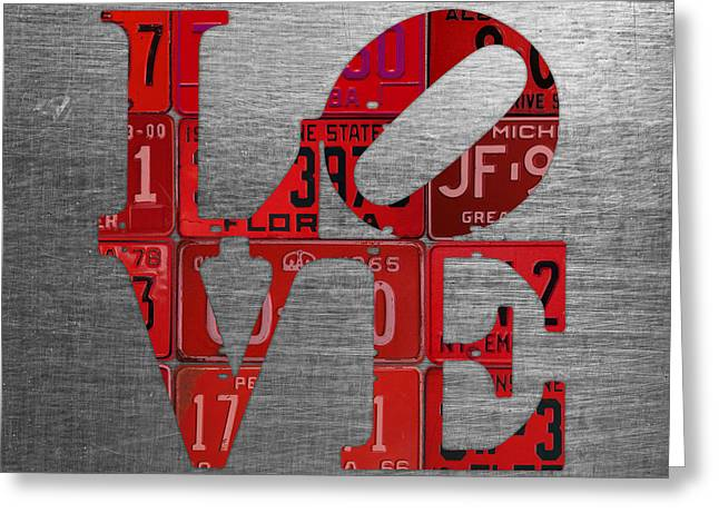 Love Sign Philadelphia Recycled Red Vintage License Plates On Aluminum Sheet Greeting Card by Design Turnpike
