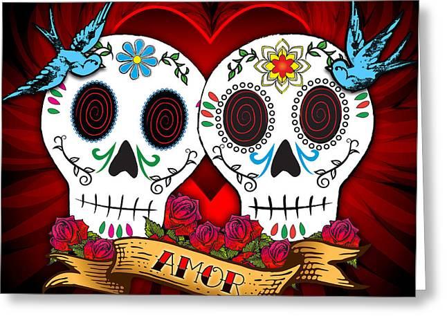 Skull Greeting Cards - Love Skulls Greeting Card by Tammy Wetzel