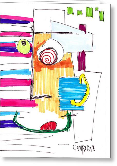 ist Marker Drawings Greeting Cards - Love Struck Greeting Card by Teddy Campagna