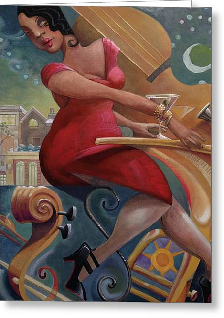 Love That Jazz Greeting Card by Barbara Hranilovich