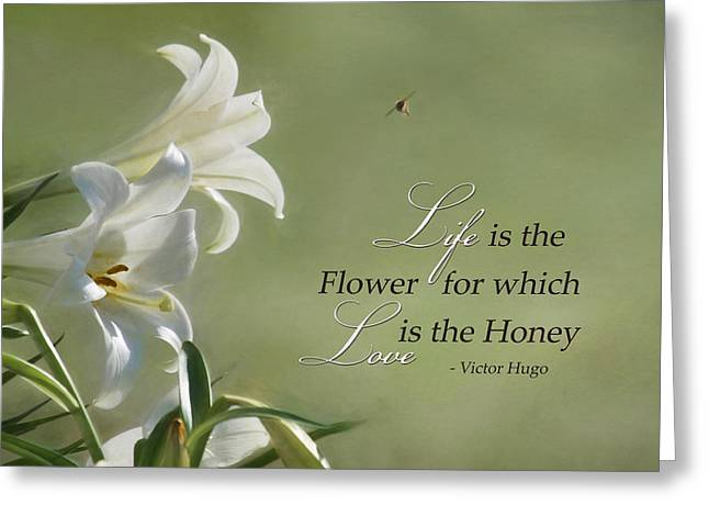 Honeybee Greeting Cards - Love is the Honey Greeting Card by Lori Deiter