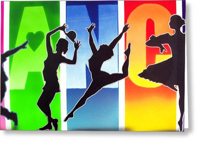 Tap Paintings Greeting Cards - Love to Dance Greeting Card by Amatzia Baruchi