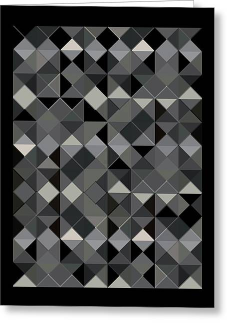 Geometric Design Greeting Cards - Love Triangle Black Greeting Card by Marcio Pontes