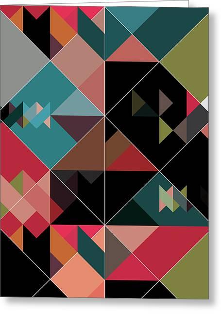 Geometric Design Greeting Cards - Love Triangle Greeting Card by Marcio Pontes