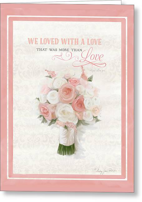 Love Typography Bridal Bouquet Damask Lace Coral Peach Blush Greeting Card by Audrey Jeanne Roberts
