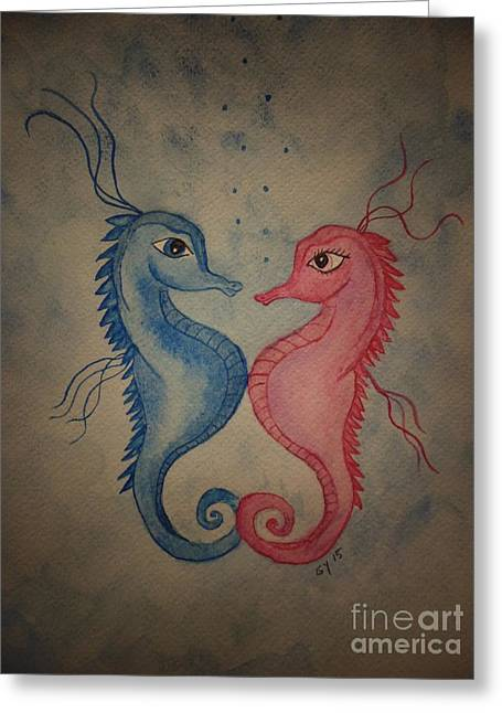 Two Seahorses Greeting Cards - Love Under The Sea Greeting Card by Ginny Youngblood