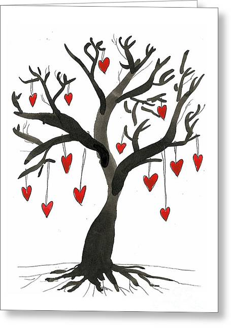 Tree Roots Drawings Greeting Cards - Love Will Grow Greeting Card by Sarah Benning