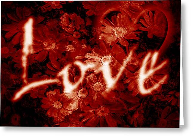 Romantic Greeting Cards - Love with Flowers Greeting Card by Phill Petrovic