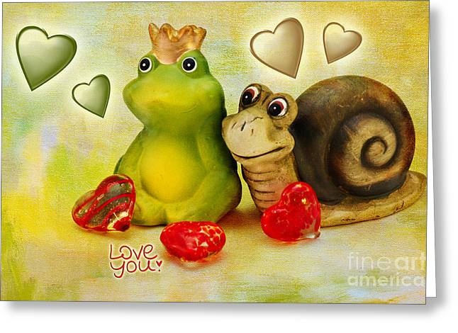 Figurine Mixed Media Greeting Cards - Love you Greeting Card by Angela Doelling AD DESIGN Photo and PhotoArt