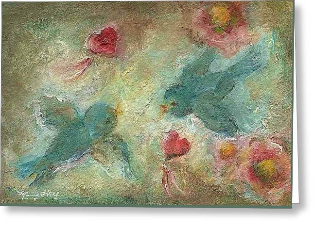 Lovebirds Greeting Card by Mary Wolf
