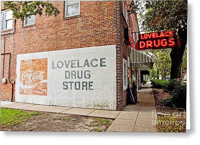 Ghost Signs Greeting Cards - Lovelace Drug Store Greeting Card by Scott Pellegrin